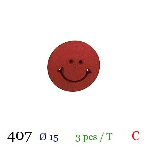 Bouton rouge motif smile à queue 15mm