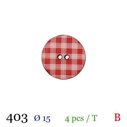 Bouton rouge à carreaux rond 2 trous 15mm