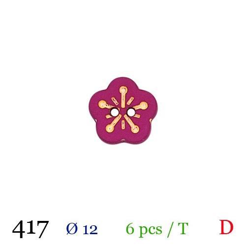 Bouton fleur violine 2 trous 12mm