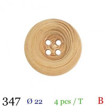 Bouton bois clair rond 4 trous 22mm