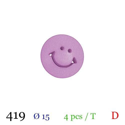 Bouton violine motif smile à queue 15mm