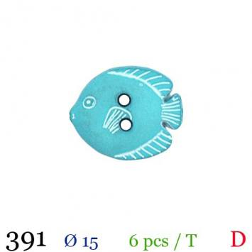 Bouton turquoise motif poisson 2 trous 15mm