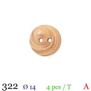Bouton bois rond 2 trous 14mm