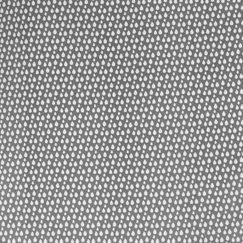 Toile polycoton grise à motif goutte d'eau