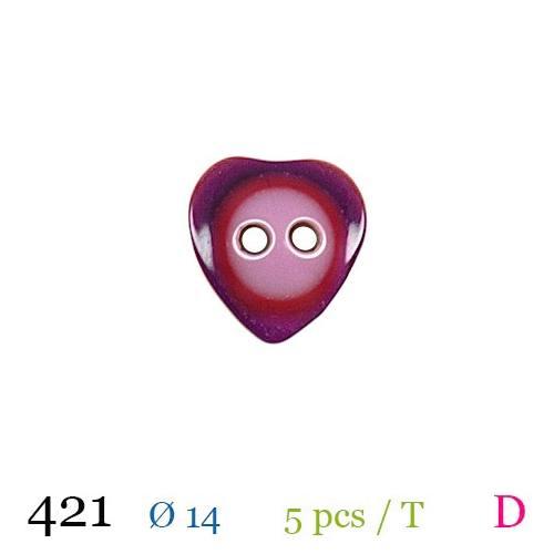 Bouton rose et rouge motif coeur 2 trous 14mm