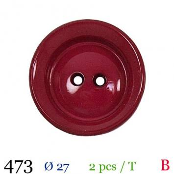 Bouton cerise mate rond 2 trous 27mm