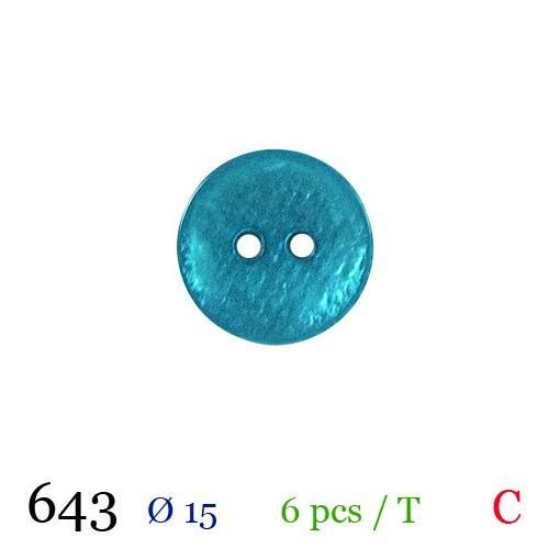 Bouton nacré turquoise rond 2 trous 15mm
