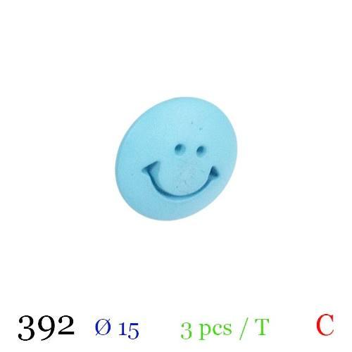 Bouton bleu ciel motif smile à queue 15mm
