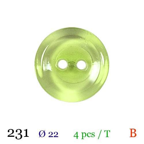 Bouton vert tilleul transparent rond 2 trous 22mm
