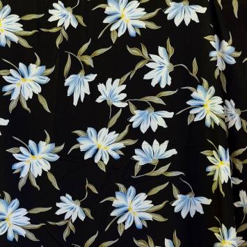 Tissu microfibre noir imprimé grande fleur
