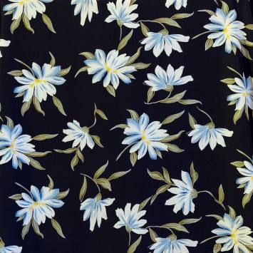 Tissu microfibre bleu marine imprimé grande fleur