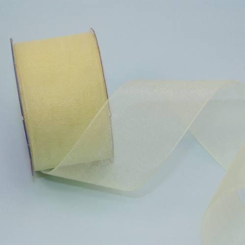 Ruban organdi en bobine jaune citron 32 mm