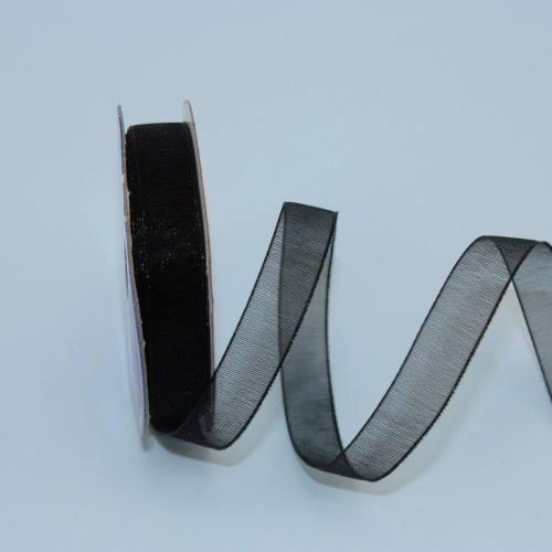 Ruban organdi en bobine noir 9 mm