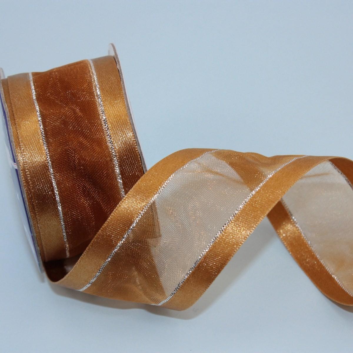 Ruban organdi fantaisie marron 32 mm