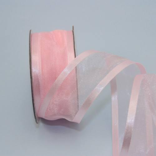 Ruban organdi fantaisie rose 25 mm
