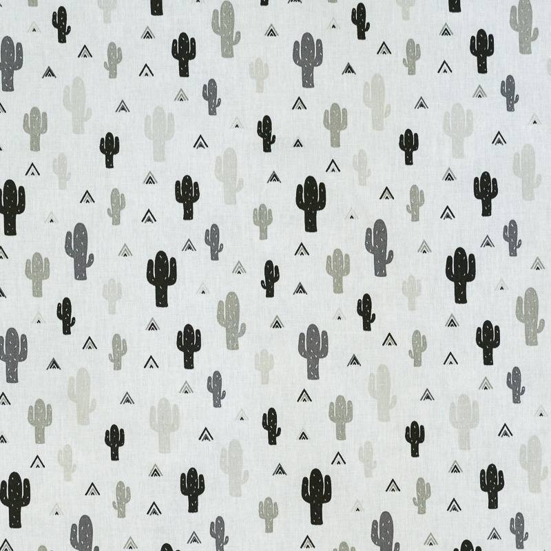 Coton blanc imprimé cactus noir et gris