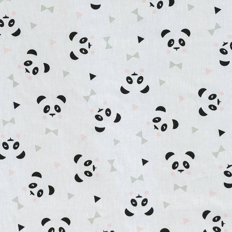 Coton blanc imprimé panda