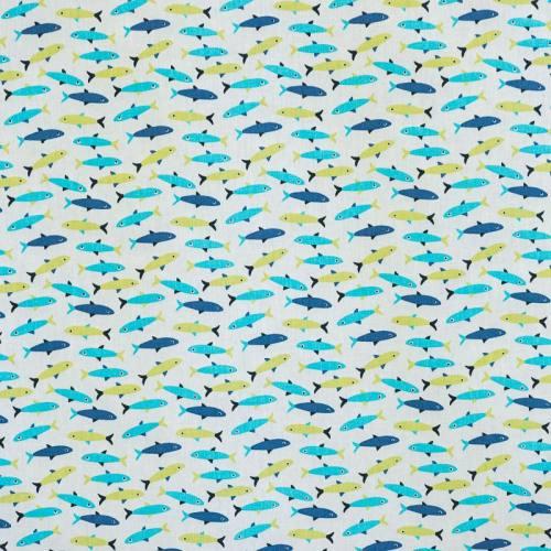 Coton blanc imprimé poisson bleu et vert