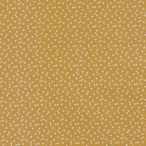 Coton ocre imprimé petit triangle blanc