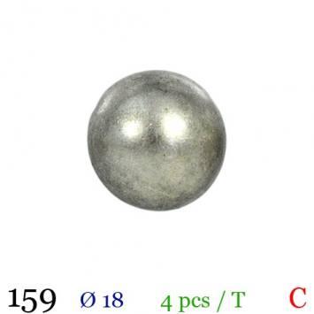 Bouton gris métal rond à queue 18mm