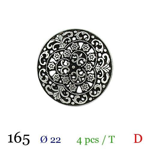 Bouton métal fleuri rond à queue 22mm