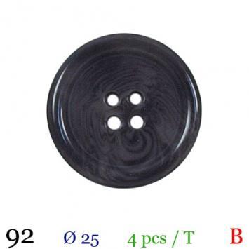 Bouton brillant gris rond 4 trous 25 mm