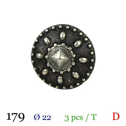 Bouton argenté métal rond vintage à queue 22mm