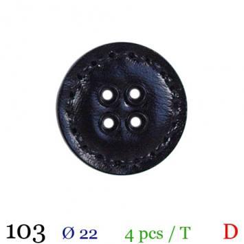 Bouton aspect cuir surpiqué noir rond 4 trous 22mm