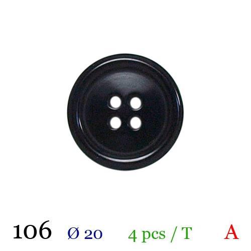 Bouton brillant noir rond 4 trous 20mm