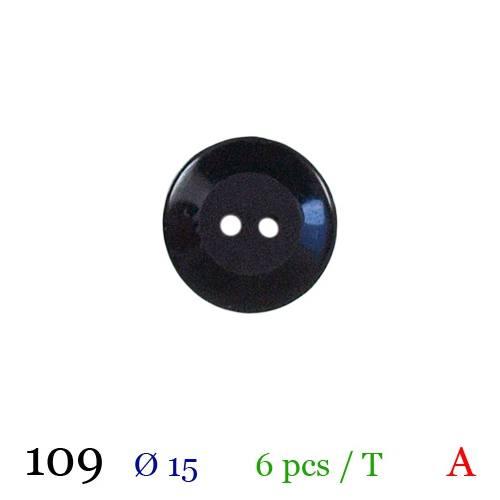 Bouton brillant noir rond 2 trous 15mm