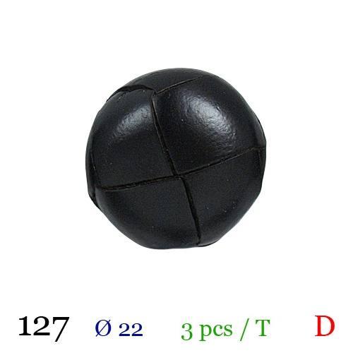 Bouton aspect cuir noir à queue 22mm