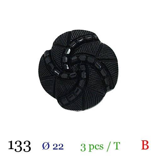 Bouton perle vintage noir à queue 22mm