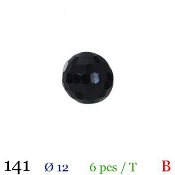 Bouton boule à facettes noir à queue 12mm