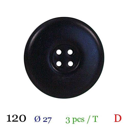 Bouton brillant noir rond 2 trous 27mm