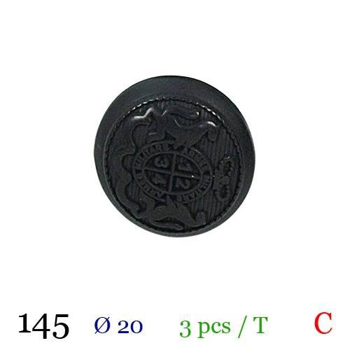 Bouton noir métal rond militaire à queue 20mm