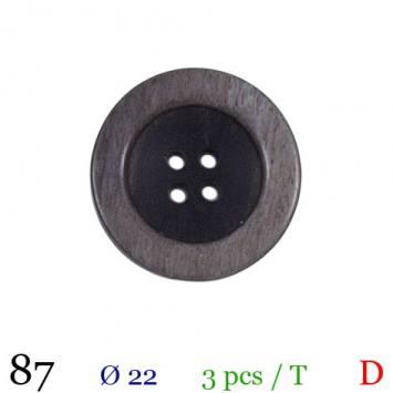 Bouton aspect bois gris rond 4 trous 22mm