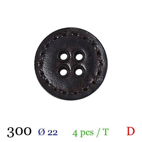 Bouton aspect cuir surpiqué marron rond 4 trous 22mm