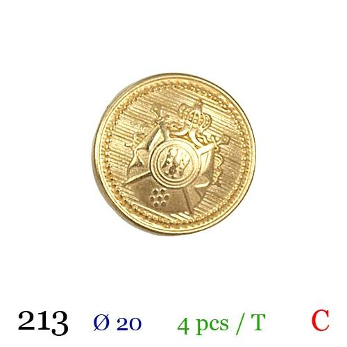 Bouton doré métal rond motif écusson à queue 20mm