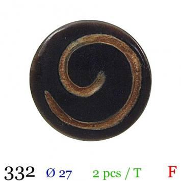Bouton bois spirale noir rond à queue 27mm