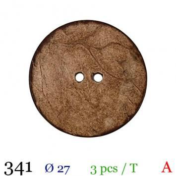 Bouton bois effet vieilli rond 2 trous 27mm