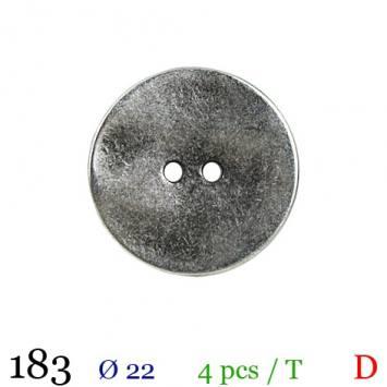 Bouton argenté métal rond 2 trous 22mm
