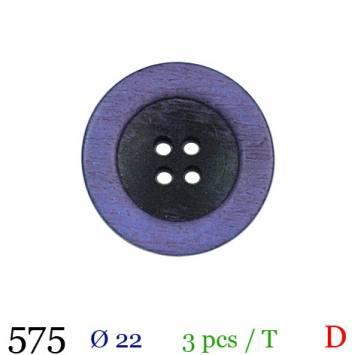 Bouton aspect bois violet rond 4 trous 22mm
