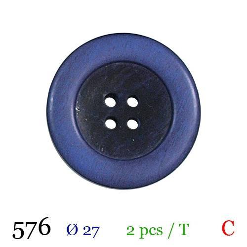 Bouton aspect bois violet rond 4 trous 27mm
