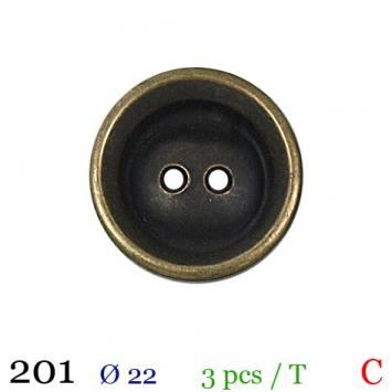 Bouton métal rond 2 trous 22mm