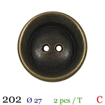 Bouton métal rond 2 trous 27mm