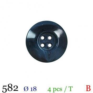 Bouton bleu aspect marbre rond 4 trous 18mm