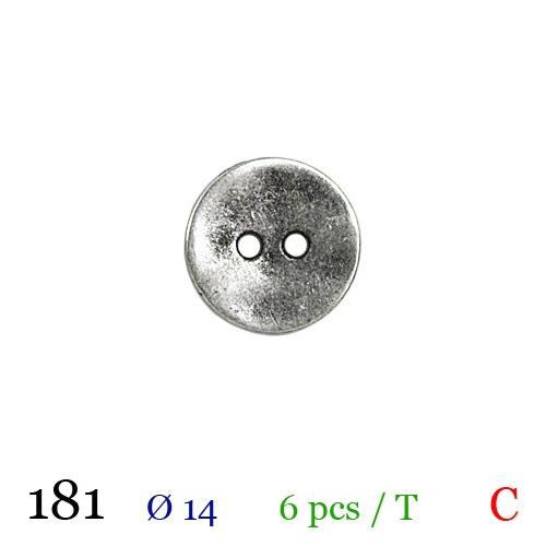 Bouton argenté métal rond 2 trous 14mm