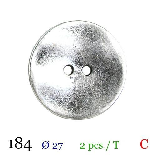 Bouton argenté métal rond 2 trous 27mm