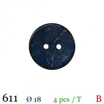 Bouton bleu foncé mate rond 2 trous 18mm