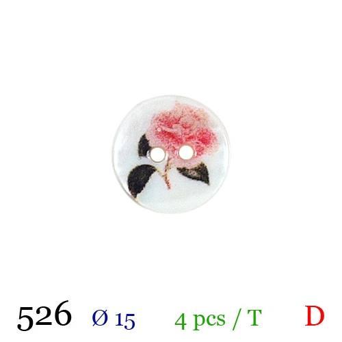 Bouton blanc nacré motif rose 2 trous 15mm